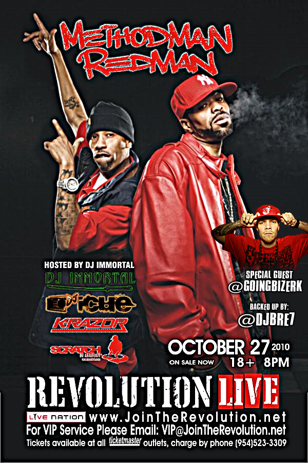 Method Man and Redman Concert, Meth & Red, Method Man live at revolution, Bizerk, 8&9 Clothing