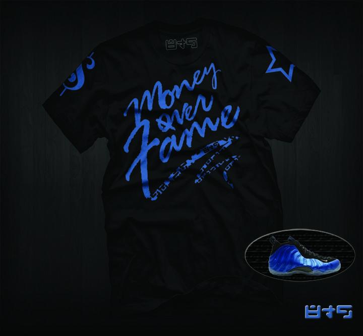 Foamposite Blue Shirt, Money Over Fame