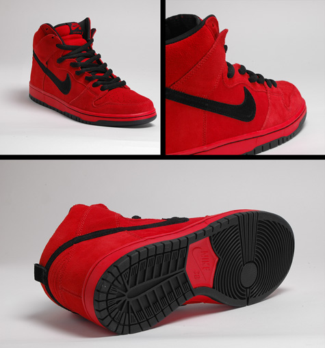 nike all red sb high top devil
