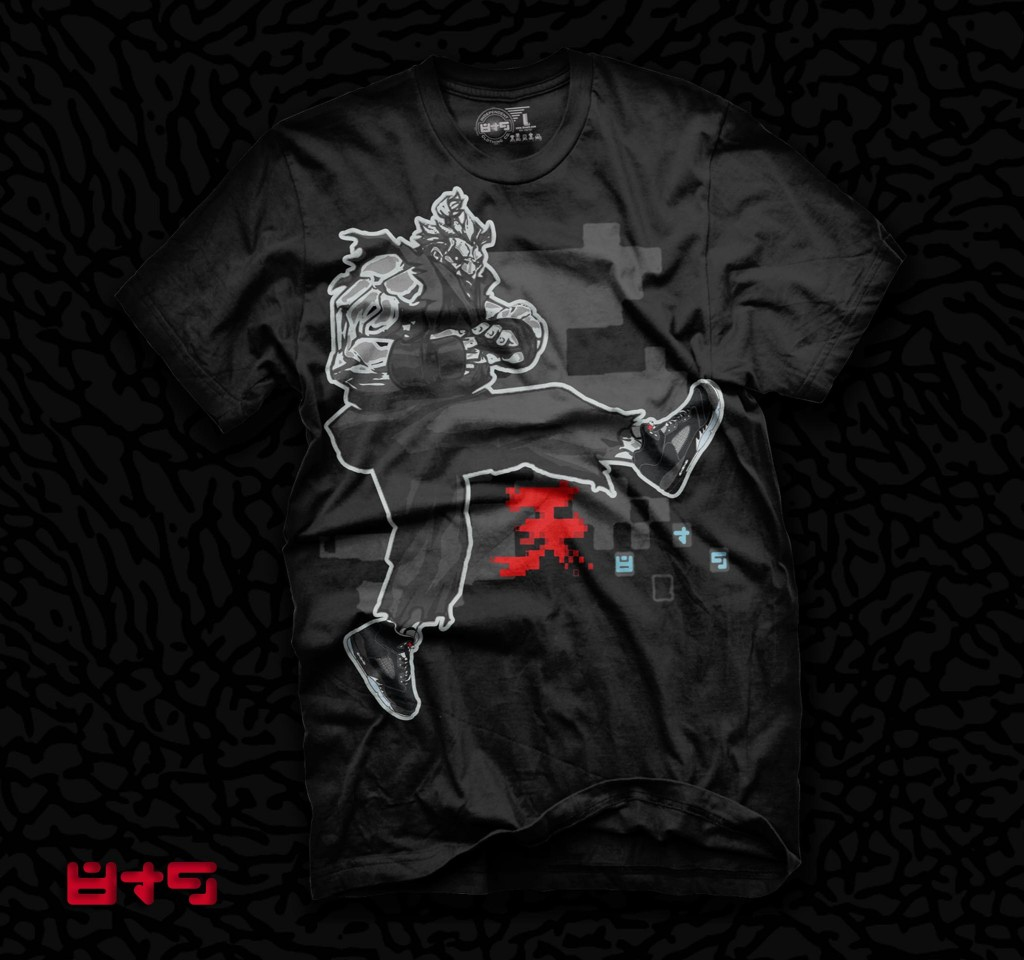 Akuma Streetfighter shirt, Jordan metallic 5