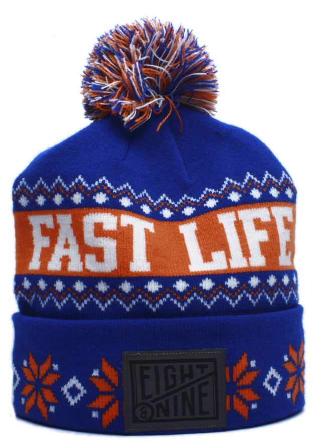 Fast Life NYC Cuffed Pom Beanie