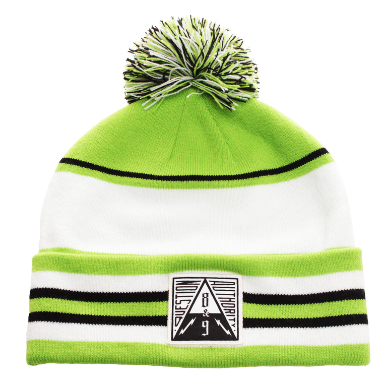 Question Authority Cuffed Beanie Neon