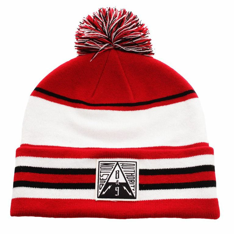 Question Authority Cuffed Beanie Fire Red