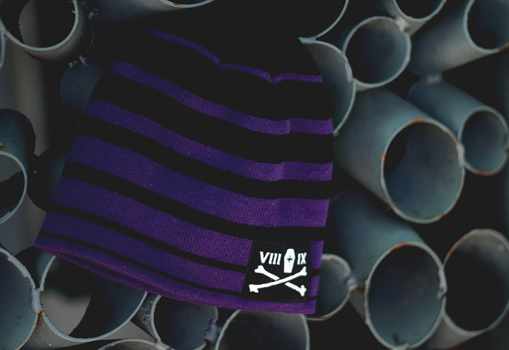 Classic Bones Skully Beanie Purple