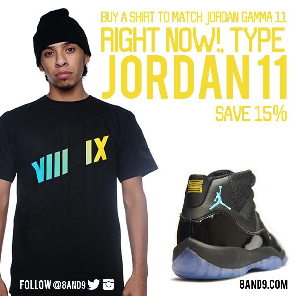 gamma blue jordan 11 shirt